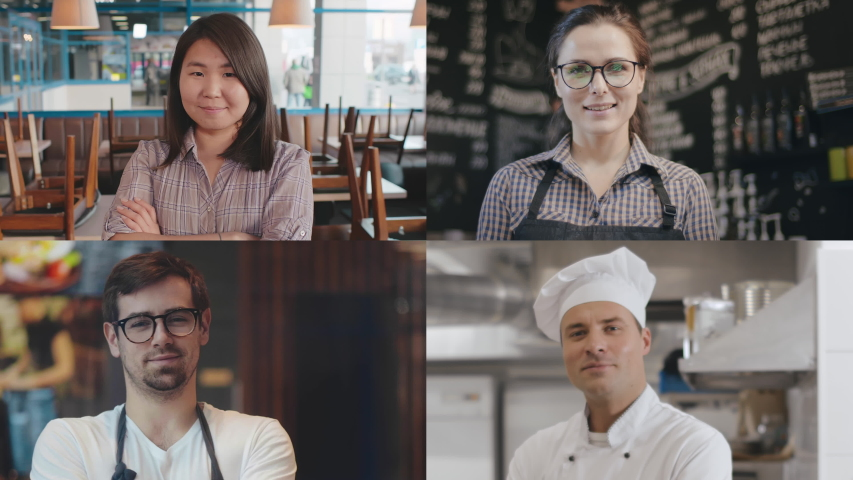 Multi screen of diverse workers of foodservice posing at camera and smiling. Images of happy team of restaurant: waitress, chef and baristas looking at camera. Small business success Royalty-Free Stock Footage #1053249602