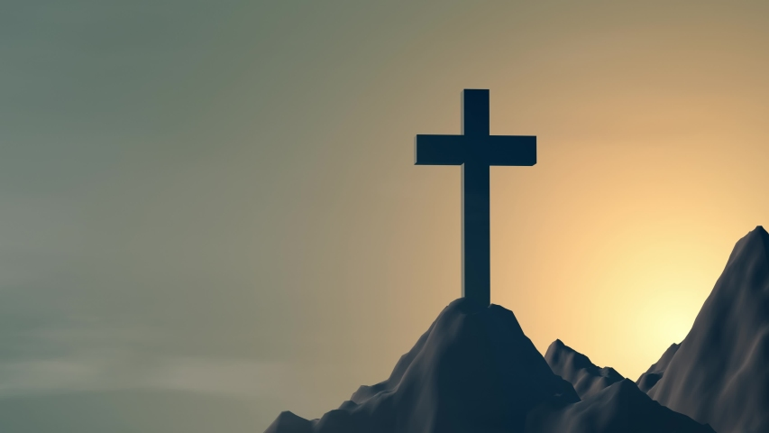 Silhouette of the cross over the sunset on mountain top 3d rendering. stations of the cross | Shutterstock HD Video #1053249947