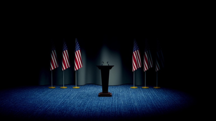 Press conference of president of USA concept, Politics of USA. Podium speaker tribune with Germany flags and coat arms. 3d rendering | Shutterstock HD Video #1053251870