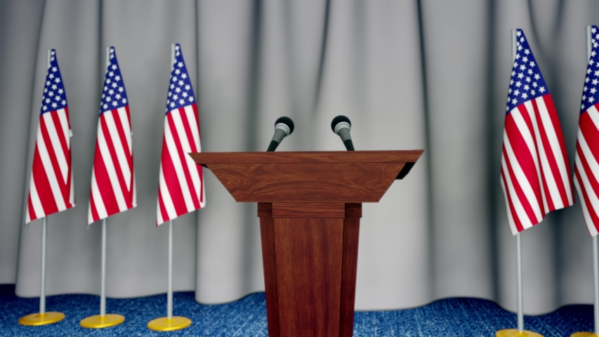Press conference of president of USA concept, Politics of USA. Podium speaker tribune with Germany flags and coat arms. 3d rendering | Shutterstock HD Video #1053251876