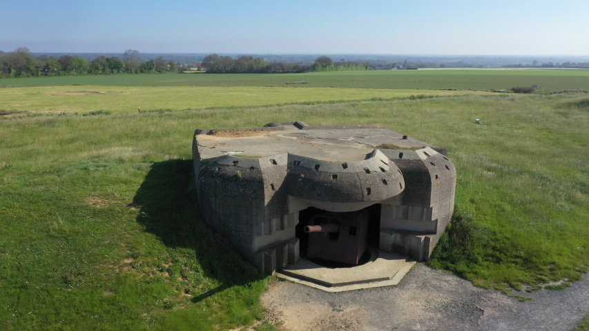 Aerial view of Remains of World War II German artillery battery in Longues-sur-Mer, Normandy (France) | Shutterstock HD Video #1053255077