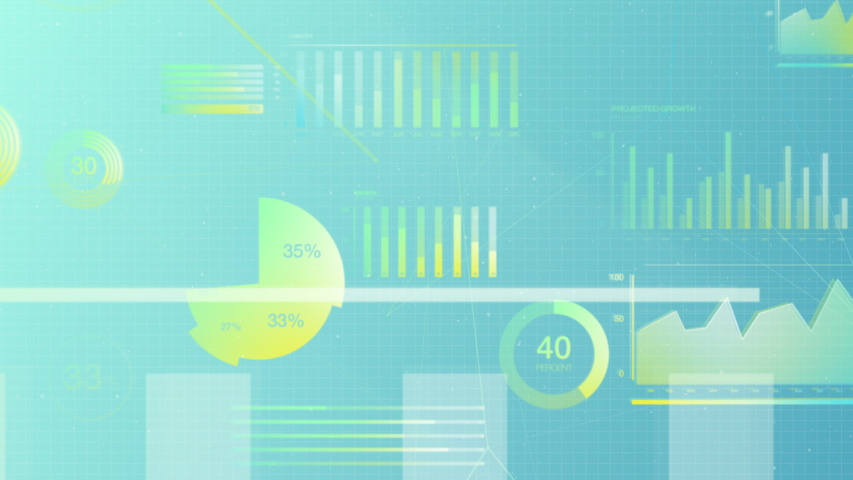 Business data stock market visualization showing pie charts, numbers and graphs in white and yellow on a blue background. 3D animation created in 4k. | Shutterstock HD Video #1053266705