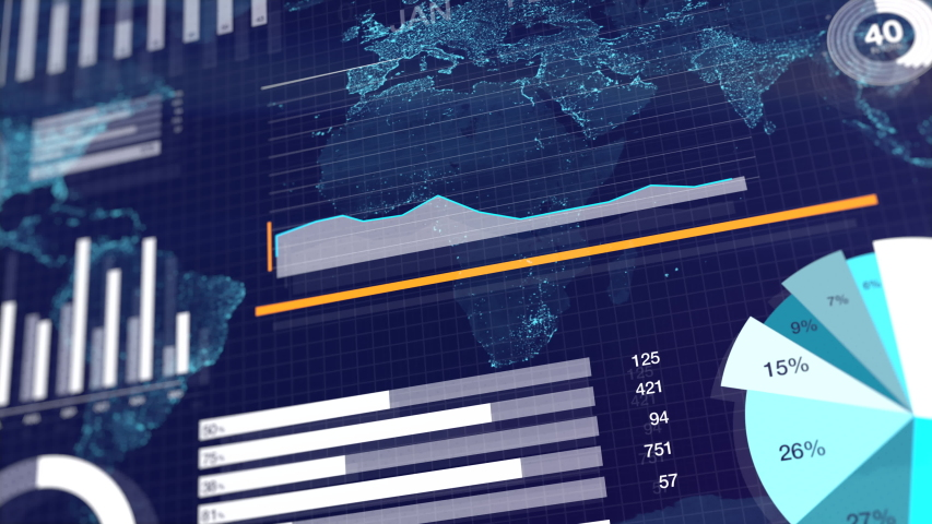 3D animation of graphs and charts over globe map background. Blue corporate abstract