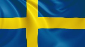 Sweden flag waving in the wind with high quality texture in 4K National Flag of Sweden Swedish Flag