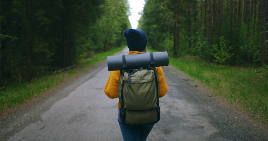 Close up back of woman with backpack walking at the autumn forest nature landscape travel weather tree outdoor woods slow motion. | Shutterstock HD Video #1053281609
