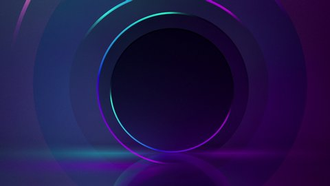 Abstract seamless loop of 3D render neon circle.  Blue and purple neon circles abstract futuristic hi-tech motion background seamless loop. Video 3d animation Ultra HD 4K 3840x2160