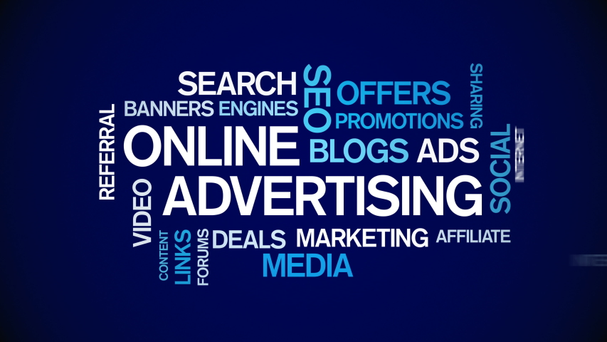 4k Online Advertising Animated Tag Word Cloud,Text Design Animation,Kinetic Typography.