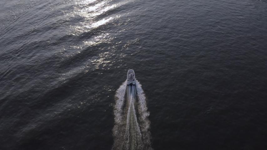 Aerial view from Speedboat in Rhine river | Shutterstock HD Video #1053298316