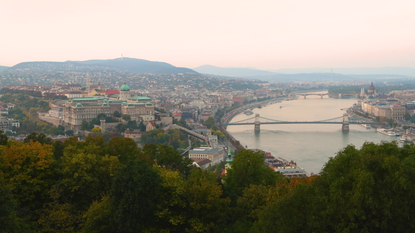 Budapest view of Buda Castle and Chain Bridge on Danube River, Hungary | Shutterstock HD Video #1053300575