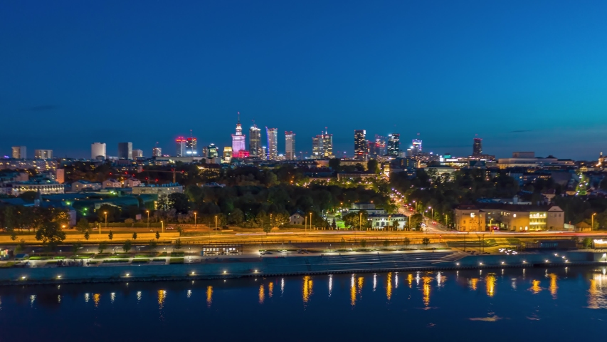 Panorama timelapse of night Warsaw city centre over Wisla river in Poland | Shutterstock HD Video #1053326843