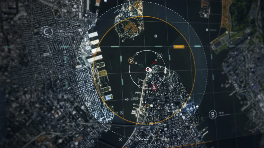 Criminal, Terrorist Detected in New York, Modern City From Satellite Camera. UI Screen Royalty-Free Stock Footage #1053335465