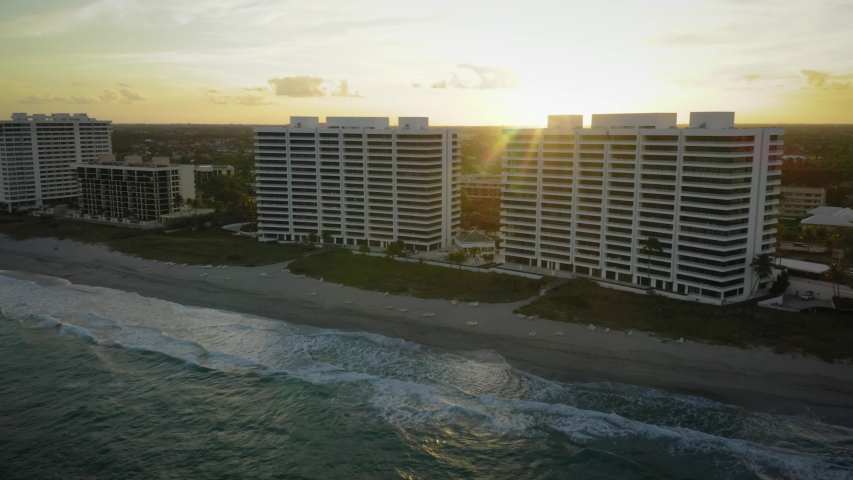 Florida Coastline Aerial Pulling Back from Hotels in Boca Raton | Shutterstock HD Video #1053336698