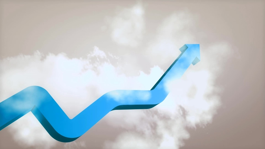 Profit Growth and Profit Rate Chart Going Sky High Cloud | Shutterstock HD Video #1053338951