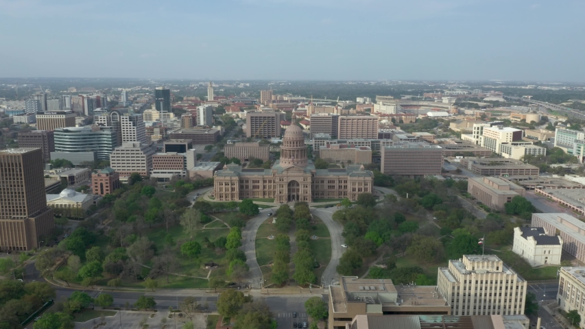 Texas State capitol Aerial Dolly Shot in Austin Texas USA