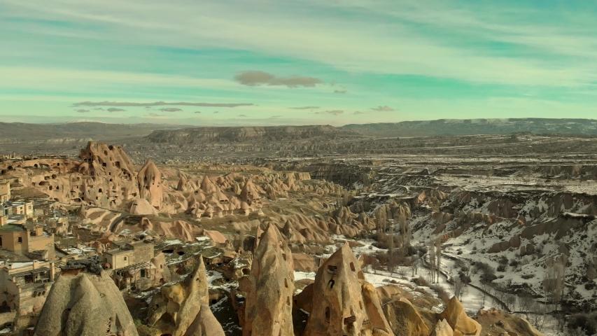 Cappadocia rock formations aerial in Turkey | Shutterstock HD Video #1053365156