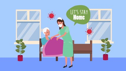 old woman in bed with nurse stay at home for covid19 prevention method ,4k video animation