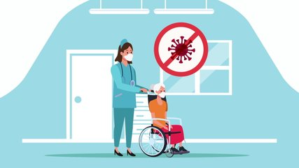 old woman in wheelchair with nurse stay at home for covid19 prevention method ,4k video animation