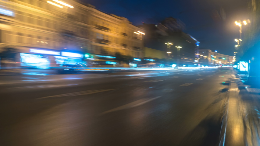 The walk along the road in the evening city time lapse hyperlapse wide angle | Shutterstock HD Video #1053376814