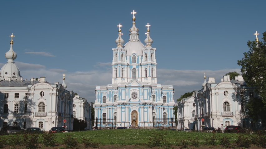 Famous Smolny Cathedral in the summer sunny day - St. Petersburg, Russia | Shutterstock HD Video #1053384293