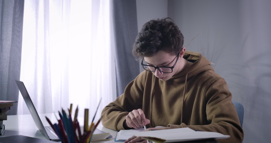 Portrait of clever college student comparing information in workbook and online. Smart nerd Caucasian boy studying distantly. Wireless education, lifestyle, e-learning. Cinema 4k ProRes HQ. Royalty-Free Stock Footage #1053386156