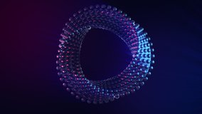 Futuristic abstract twisted geometry spinning in a seamless VJ loop. Hypnotic circular sci-fi motion design element on dark background with God Rays. 3D video jockey animation in 4K.
