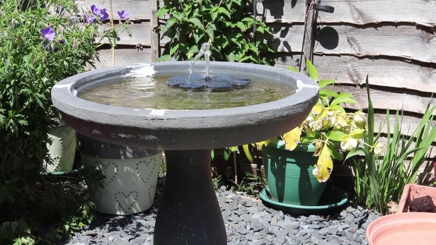 Solar powered garden fountain in a bird bath relaxing sound  | Shutterstock HD Video #1053393173