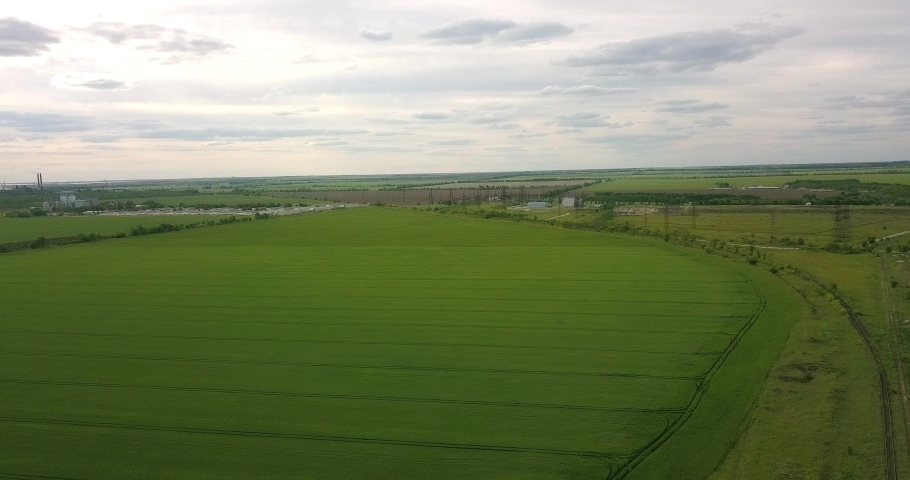 Drone flying over a large green field | Shutterstock HD Video #1053395870