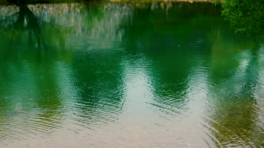 Calm crystal green river water is passing along remains of old fortress in natural green surroundings during spring day. | Shutterstock HD Video #1053404738