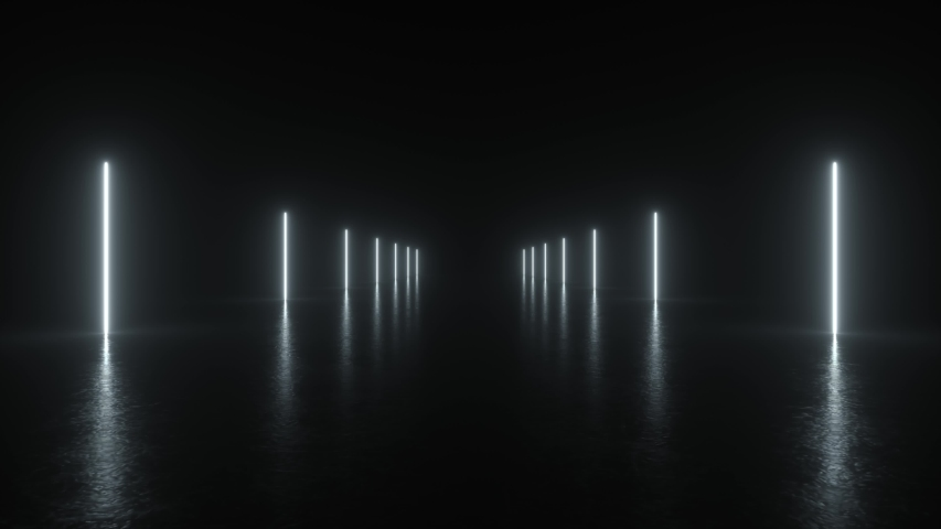 4K Animation Loop Futuristic Sci Fi Lines White Neon Tube Lights Glowing In Concrete Floor Room With Reflections Empty Space. Alien, Spaceship, Future, Arch. Moving forward. 3D Rendering