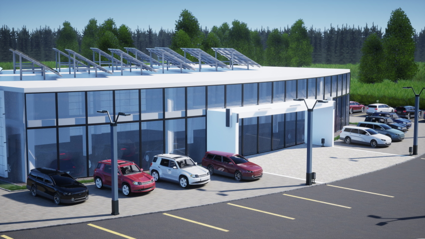3d rendering of modern generic cars and building of dealership on a sunny day