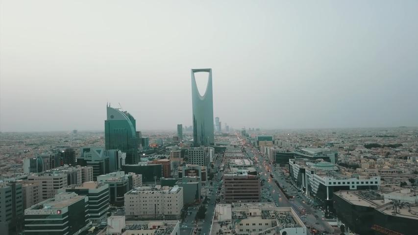Riyadh, Saudi Arabia 05-02-2015 : Aerial view of Riyadh downtown with landscape view for olaya district and king fahad street