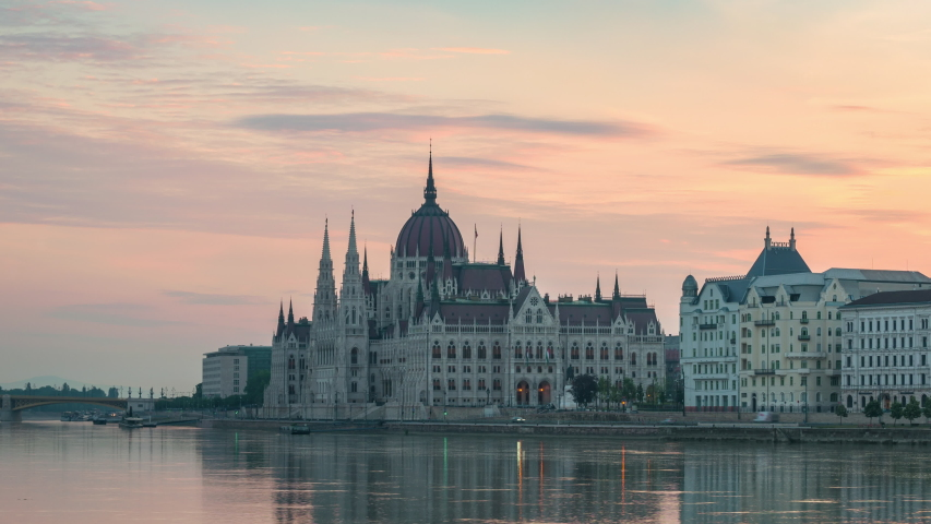 Budapest Hungary time lapse 4K, city skyline sunrise timelapse at Hungarian Parliament and Danube River | Shutterstock HD Video #1053443393