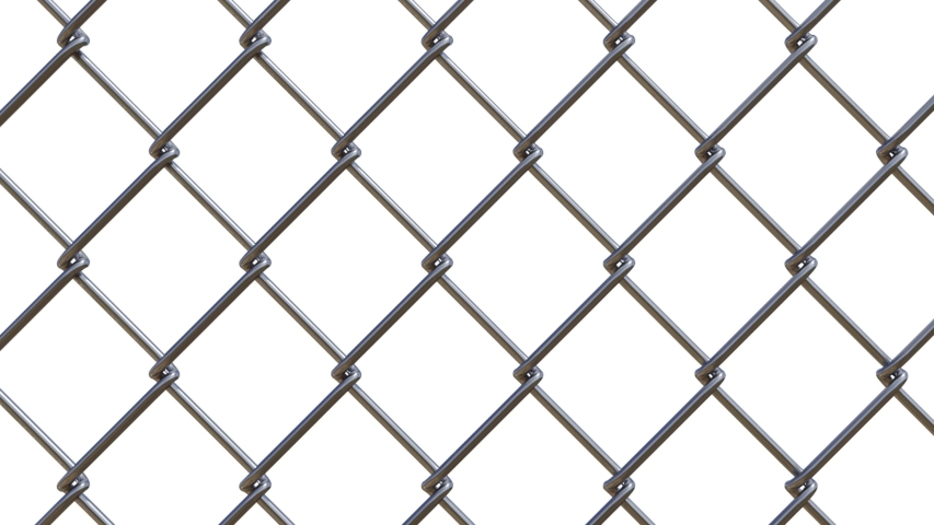 Chain-link fencing on green background. Depth of field and unfocused 3D animation. Version with with alpha channel mask. | Shutterstock HD Video #1053451322