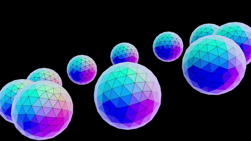 Spheres 112: Faceted spheres 3D animated background with copy space (Loop). | Shutterstock HD Video #1053459116