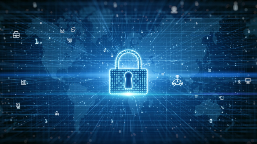 Lock Icon. Cyber Security of Digital Data Network Protection. High-speed connection data analysis. Technology data binary code network conveying connectivity background concept. | Shutterstock HD Video #1053461486