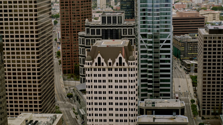 Cinematic Panoramic Aerial View of Downtown Los Angeles, Sunset City Skyline Shot of DTLA, CA. | Shutterstock HD Video #1053465953