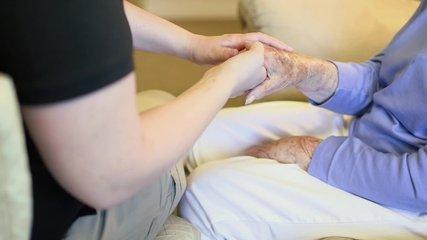 Nursing Home Elderly Care Giver Hands Grandma Senior Citizen Older