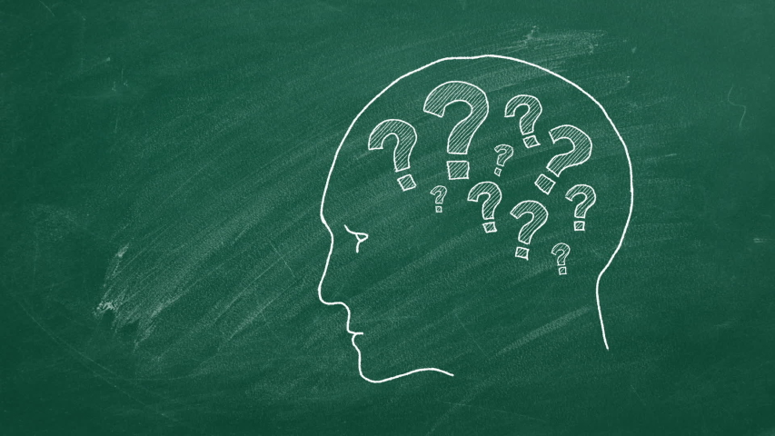 Human head with question marks inside. Animated illustration on green chalkboard. | Shutterstock HD Video #1053467078