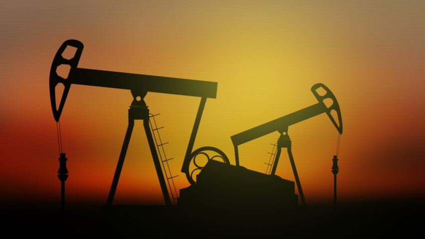Oil Pumps on sunset background.  Seamless loop video. | Shutterstock HD Video #1053467105
