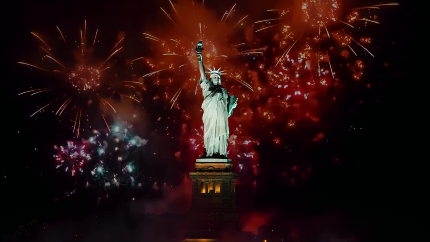 Statue of liberty on Independence day or other celebrate firework background Royalty-Free Stock Footage #1053468566