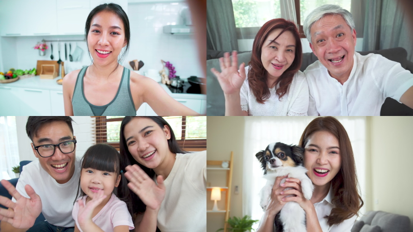 Asian family using video conference. Grandparent, father, mother, child and sister talking by video call screen. Self-isolation, stay at home, social distancing, quarantine for coronavirus prevention | Shutterstock HD Video #1053470111