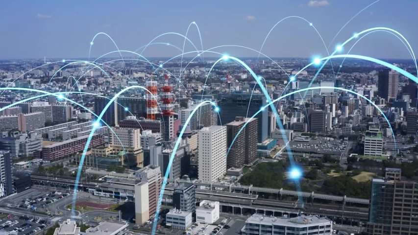 Smart city and communication network concept. 5G. LPWA (Low Power Wide Area). Wireless communication. Royalty-Free Stock Footage #1053471092