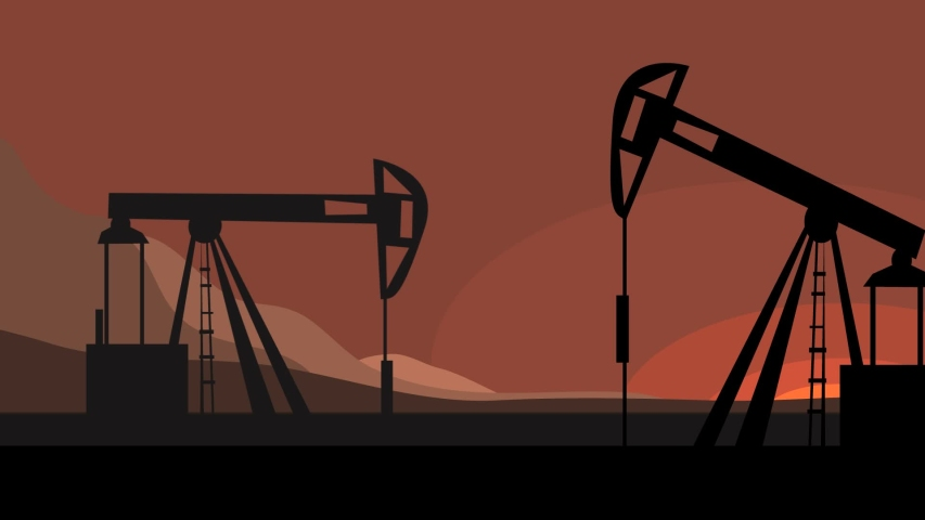 Video animation with the silhouettes of mechanisms pumping oil and trains with tanks passing by rail. mining and transportation of fossil fuels