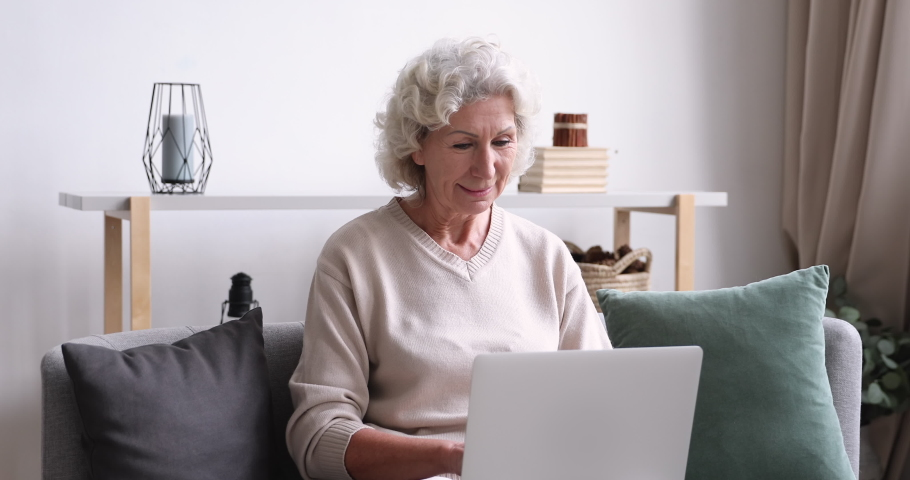 Happy focused senior 60s granny sitting on sofa with laptop on lap, shopping online at home. Smiling smart middle aged woman using computer applications, communicating with friends or web surfing.