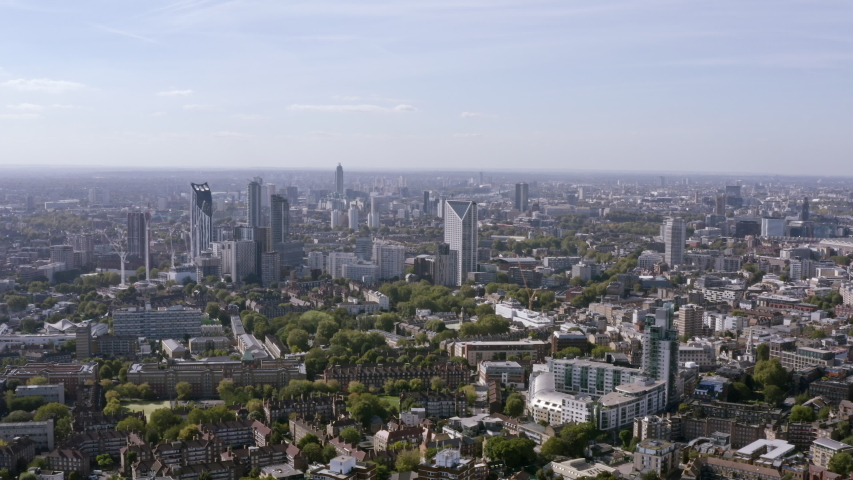 Districts of Central London aerial view, England, within residential neighborhoods such as Waterloo, Elephant and Castle, Borough, Bermondsey, Walworth, Lambeth, Kennington, Vauxhall, South Bank in 4K   Shutterstock HD Video #1053480230