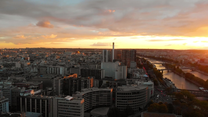 Aerial drone view of Melia Paris La Defense Skyline buildings office with a beautiful sunset in autumn | Shutterstock HD Video #1053483071