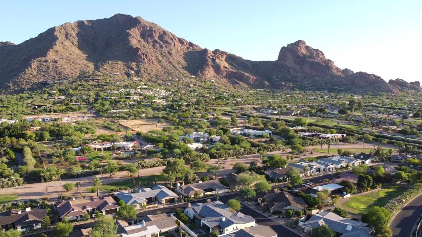 Beautiful aerial footage of Phoenix and Scottsdale, Arizona,USA, Camelback Mountain in background