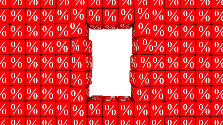 A hole in a wall of cubes with percent symbol. Span with rotation through a hole in the wall of red cubes with symbols of percent and many flying cubes. Footage video | Shutterstock HD Video #1053494261
