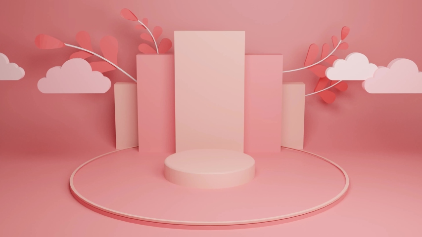 3d background product presentation. Podium minimal abstract. Display background for product presentation. Empty showcase. Royalty-Free Stock Footage #1053497411