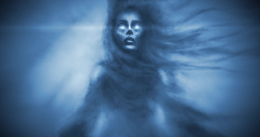 Dark evil queen with crown with shining eyes. Fantasy animation. Blue background color. Scary witch face on spooky Halloween. 2D motion graphics. Frightening moving pictures. 4K animated video clip.   | Shutterstock HD Video #1053501752
